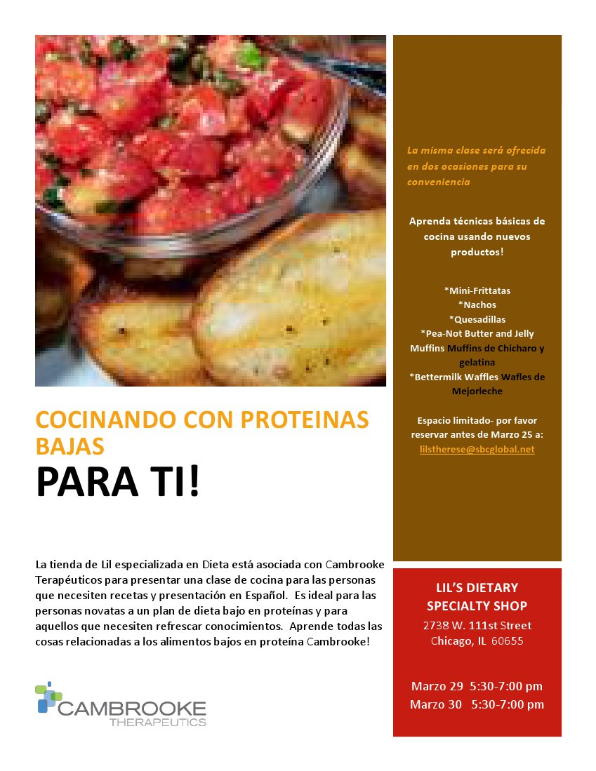 Cooking the Low Protein Way flyer Spanish